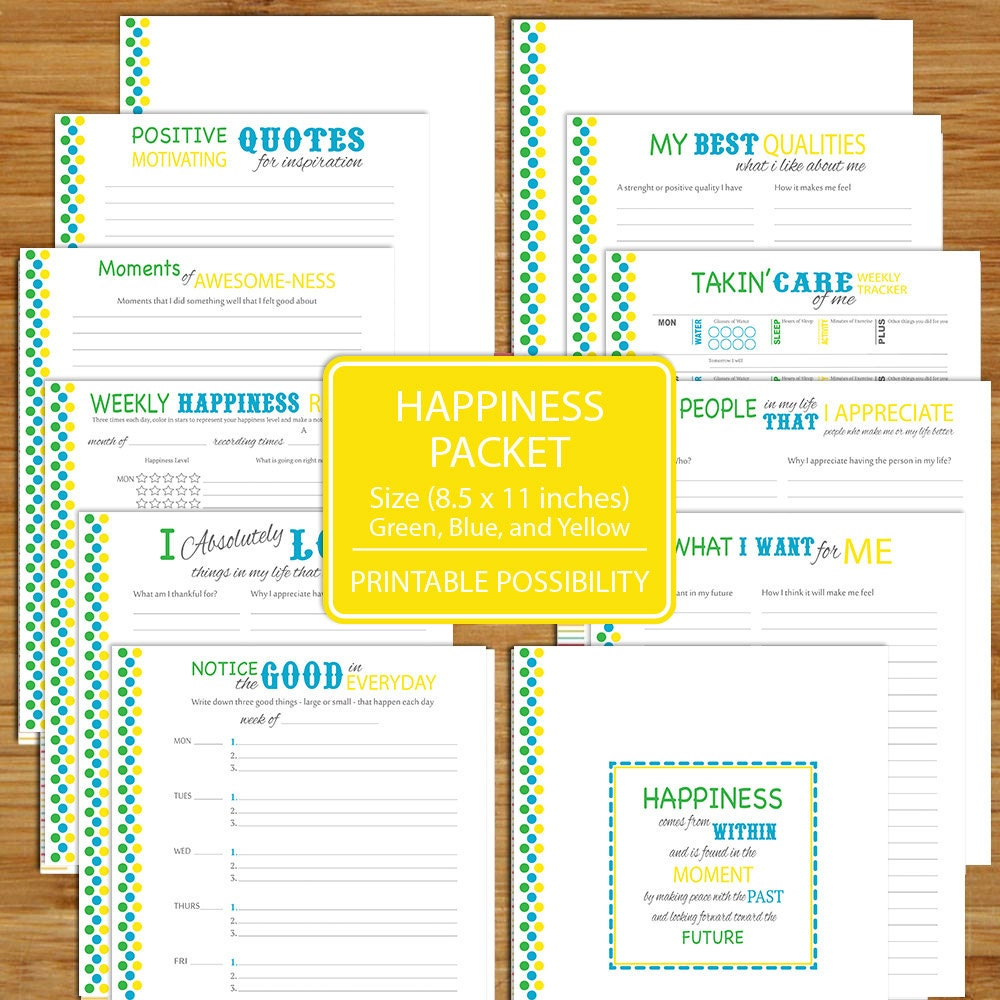 Happiness Worksheet Printables 12 Pages 8 5x11 Inch