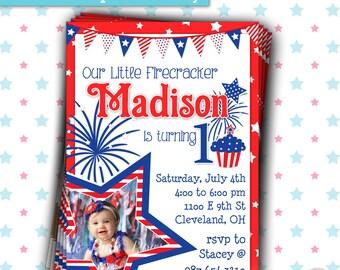 Patriotic Invitation   4th of July Birthday Invitation   Red White Blue Birthday
