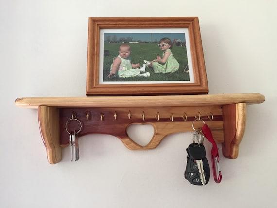 Handmade Cedar Key Hook Wall Shelf Key Holder Display