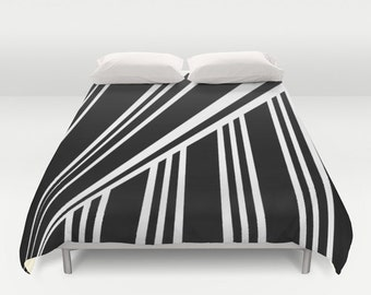 RAYAS  Duvet Cover   Double/Queen/King  Black White Stripes Lines Cover Blanket Bedding Bed Home and Living
