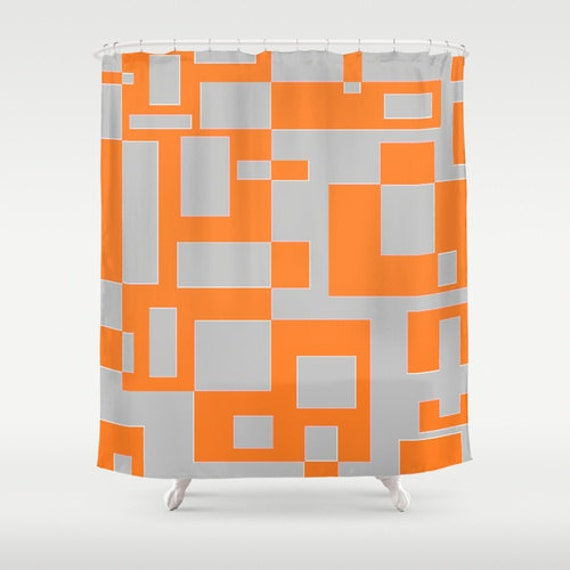 Orange And Grey BLOCKS Shower Curtain 71 BY 74 By JUST3Js