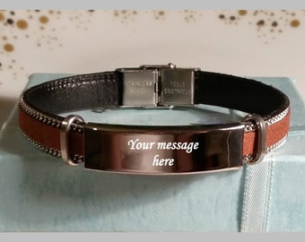 Engraved Man's bracelet Stainless steel bar, Maid of honor, Best man, Father