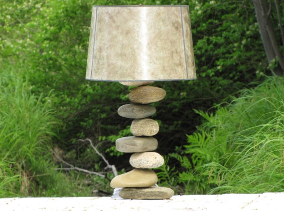 Rock Lamp Large With Offset Stones Stacked By DriftRockBay