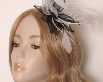 BLACK and WHITE Fascinator, Sinamay and organza petals, biot and coque feathers, sequins, on a 3mm silver headband