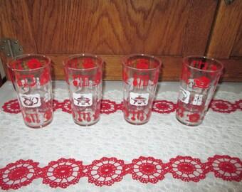 4 1950's Hazel Atlas kitchen motif glasses