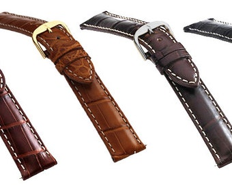 New Rugged Men's Long Genuine Louisiana Alligator Matte Watch Strap Band in Black, Brown, Cognac or Honey Colors, 8.5 inches Long
