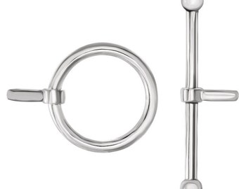 Sterling Silver 12mm Ring & 22.5mm Bar Toggle Set, Toggle Findings, White Metal Set, Ring included