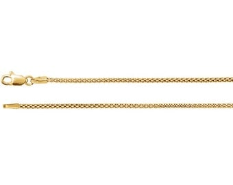 """14kt Yellow Gold 1.5mm Hollow Popcorn 16"""", 18"""" or 20"""" Long Chain Necklace with Lobster Claw Clasp"""