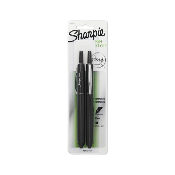 2 sharpie retractable fine point pens black ink 2 pack Sharpie calligraphy pen
