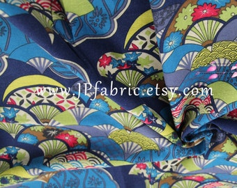 Fan fabric. Japanese Fabric. Oriental Fabric. Kawaii fabric. Print cotton fabric. JP100042