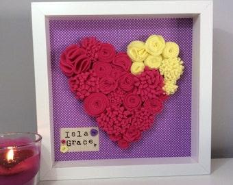Framed Felt Flower Heart - nursery art - gift for her - gift for girlfriend - anniversary gift - Valentine gift - heart picture - wall art