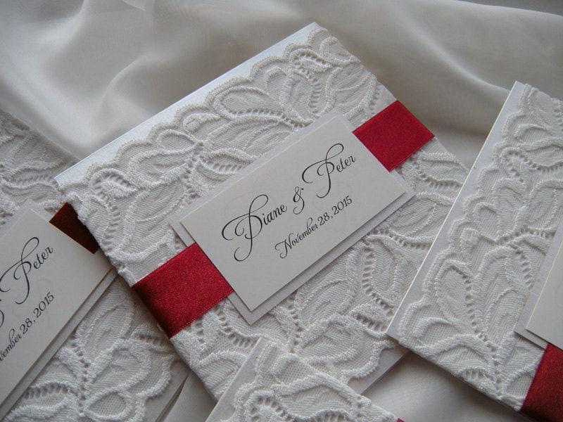 Häufig Invitation faire-part de mariage de dentelle rouge mariage XB17