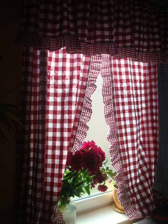 Vintage Curtains Wine Red & White Checkered Cotton Curtains