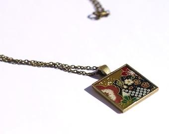 Multicolored origami pattern necklace - square pendant - bronze jewelry - washi paper pendant - multicolored pendant - japanese jewelry