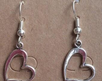 Silver tone heart earrings