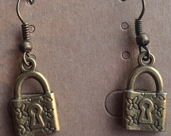 Bronze tone padlock earrings