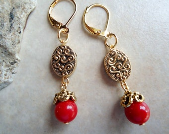 Red Coral Stone Dangle Earrings.Metal plated in 24 Karat Gold.Drop.Statement.Bridal.Mother's.Summer.Everyday.Gift.Valentine. Handmade.