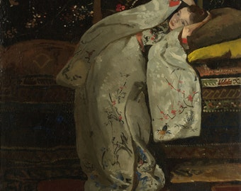 Girl in a White Kimono by George Hendrik Breitner Home Decor Wall Decor Giclee Art Print Poster A4 A3 A2 Large Print FLAT RATE SHIPPING