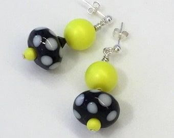 Neon Yellow Dangle Earrings, Lampwork Earrings, Neon Jewelry, Lampwork Beaded Earrings, Glass Earrings, funky earrings, glass beaded earring