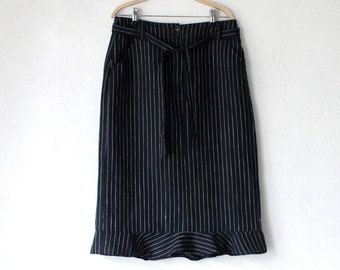 Vintage Striped Linen Pencil Skirt  Navy Blue White Midi Skirt Size EU 40/ UK 14/ US 10