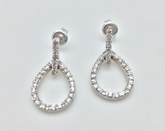 Silver Micro Pave Teardrop Earrings // 925 Sterling Silver // Rhodium Finish // Cubic Zirconia
