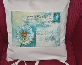 Cream pillow with reproduction vintage post card applique. Decorative throw pillow, OR Pillow ase Only  for 12 dollar, Valentine gift idea.