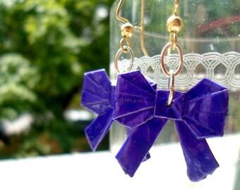Origami Bow Earrings- Purple