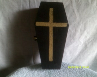 Handmade Wooden Coffin with Red Felt Lining