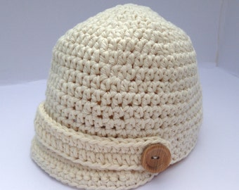 Baby boys cream Newsboy hat. baby visor hat. Cotton baby boy hat. size 0-3, 3-6, 6-24 months