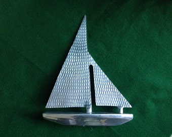 Hammered Chrome Art Deco Sailboat