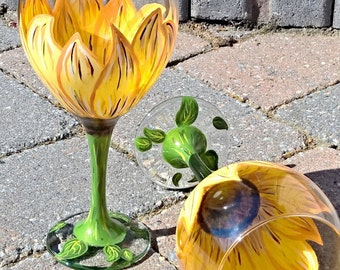 Hand Painted Sunflower Wine Glass (Can be personalized)