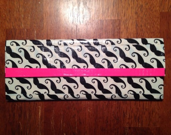 Hot Pink Mustache Duct Tape Wallet