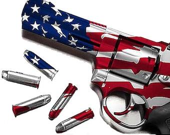 Gun and Bullets (American Flag)