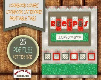 Printable Cookbook Templates   Filable Blank Categories / Tabs   Category  Recipe Organizer   DIY Cooking