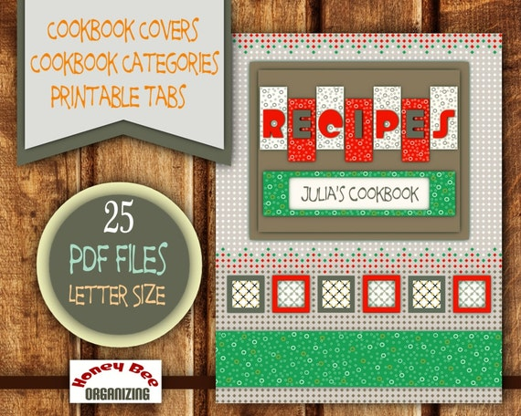 Printable Cookbook Templates Filable Blank Categories / Tabs
