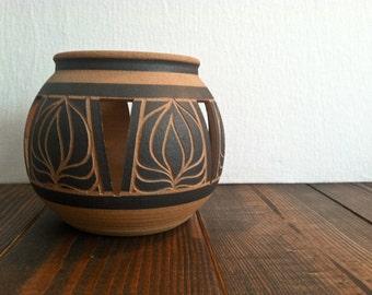 Vintage Carved Pottery Planter