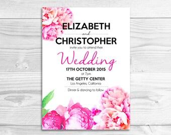 Preppy Watercolor Peony Wedding Invitation // DIY Printable Invitation // Elegant Wedding, Preppy Wedding