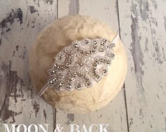 Rhinestone diamante headband christening communion wedding photo prop baby girl up to 12 years
