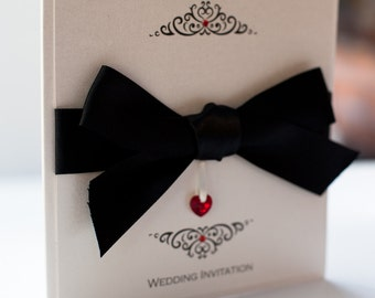 Bow Invitation with Swarovski Crystal Heart Black and Red