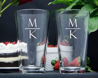 Personalized Beer Glasses / Monogram Glasses / Engraved Wedding Glasses / Custom / 16 Designs! / Select ANY QUANTITY