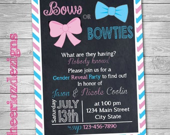 Bows or Bowties Gender Reveal Invitation- Baby Shower- Gender Reveal Party- Digital File