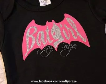 Girls Onesie Batman themed. Bat Girl Black and Pink