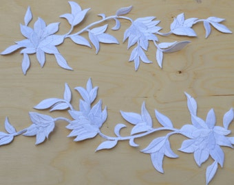 2 Martagon Lily White Flower Embroidery Patches/ White Flower Applique with Iron-on Backing