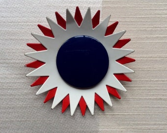 Red, White, and Blue Mod Metal Flower Brooch