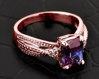 Alexandrite ring, gold Alexandrite ring, Alexandrite and diamond engagement ring, rose/pink gold Alexandrite ring, June birthstone ring