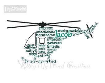 Helicopter Art, Helicopter Word Art, Gift for Boy, Helicopter Pilot Art, Personalized Word Art Typography, PRINTABLE DIGITAL FILE