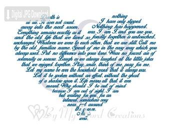 Memorial Poem Heart Art, Bereavement Poem Heart Word Art, Keepsake Art, Word Art Typography, PRINTABLE DIGITAL FILE