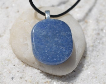 Blue Aventurine Palm Stone on a Leather Cord Necklace