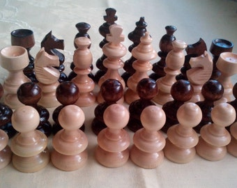 New beaufiful handcraft hazel wood special wooden chess pieces set, king 8.2 cm,3.22 in , great gift