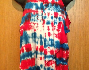 Tie-Dye, Red White & Blue Tie-Dye, Fourth of July, Patriotic, Womens tank, Medium